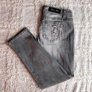 Miss Me Boyfriend Ankle Distressed Gray Jeans
